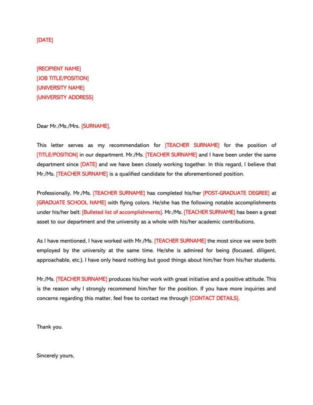 006 Shocking Letter Of Recommendation Template Design  For Teacher Student From Coach WordLarge