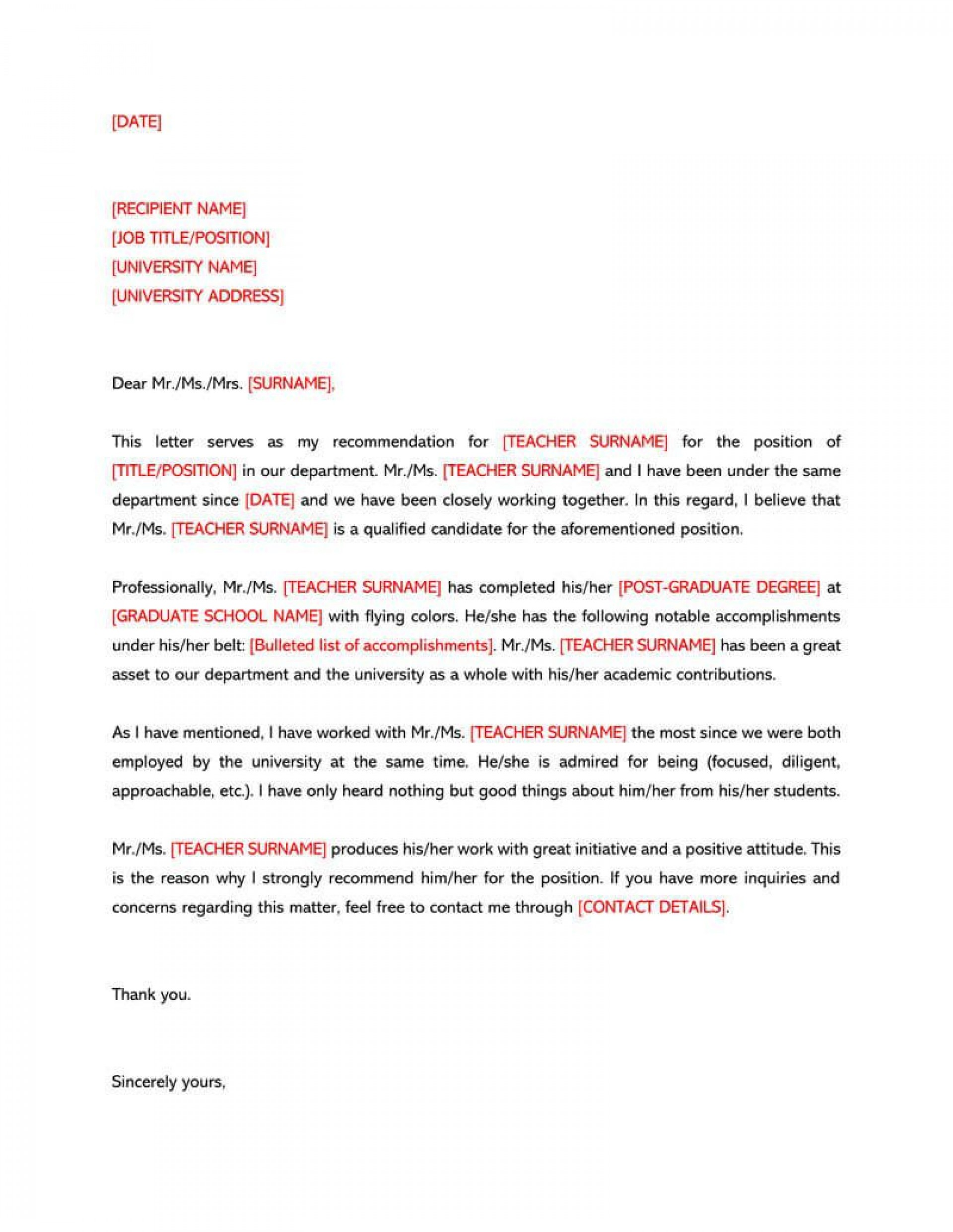 006 Shocking Letter Of Recommendation Template Design  For Teacher Student From Coach Word1920