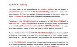 006 Shocking Letter Of Recommendation Template Design  For Teacher Student From Coach Word