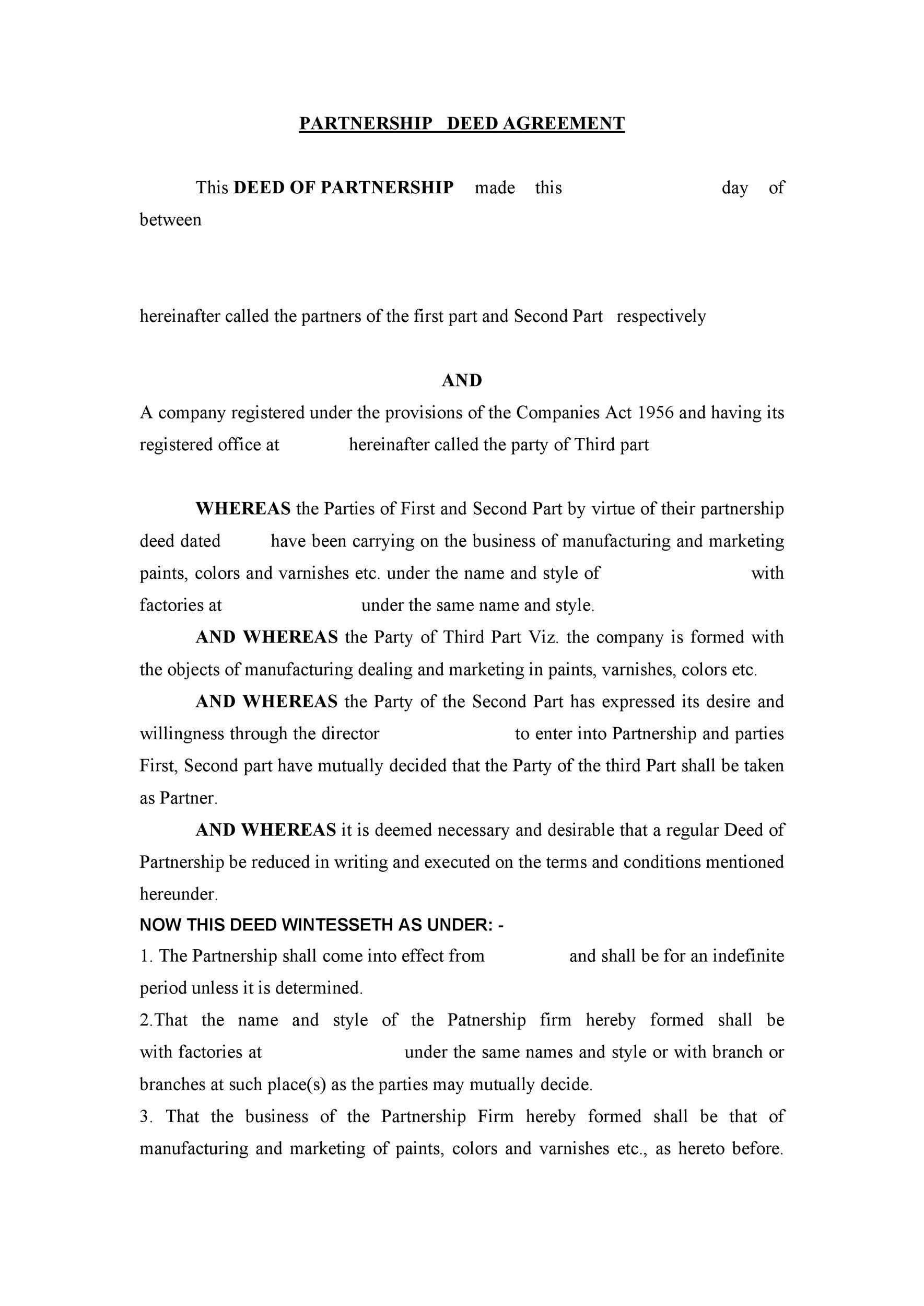 006 Shocking Limited Company Partnership Agreement Template Uk Idea Full
