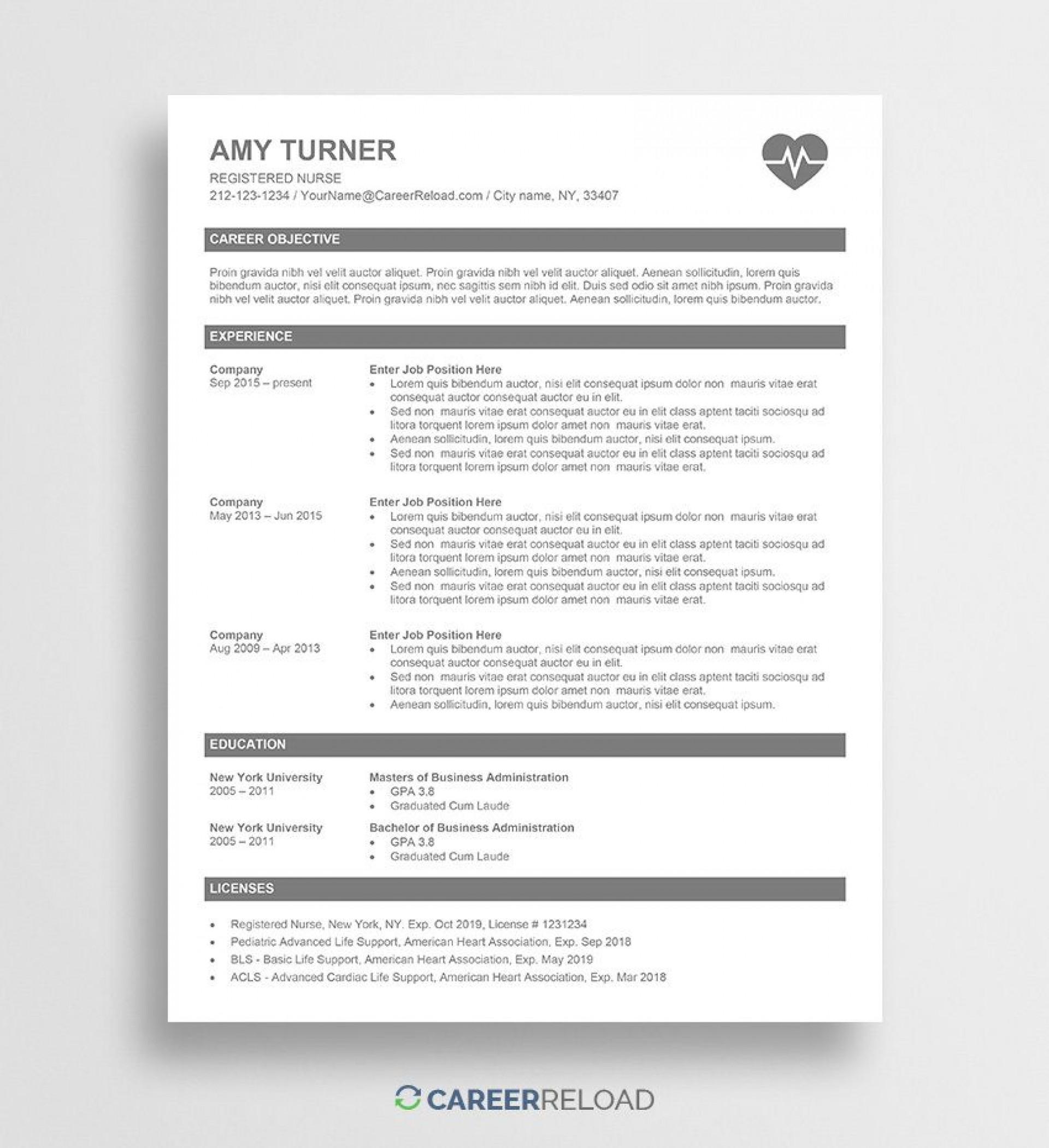 006 Shocking Nurse Resume Template Word Inspiration  Cv Free Download Rn1920