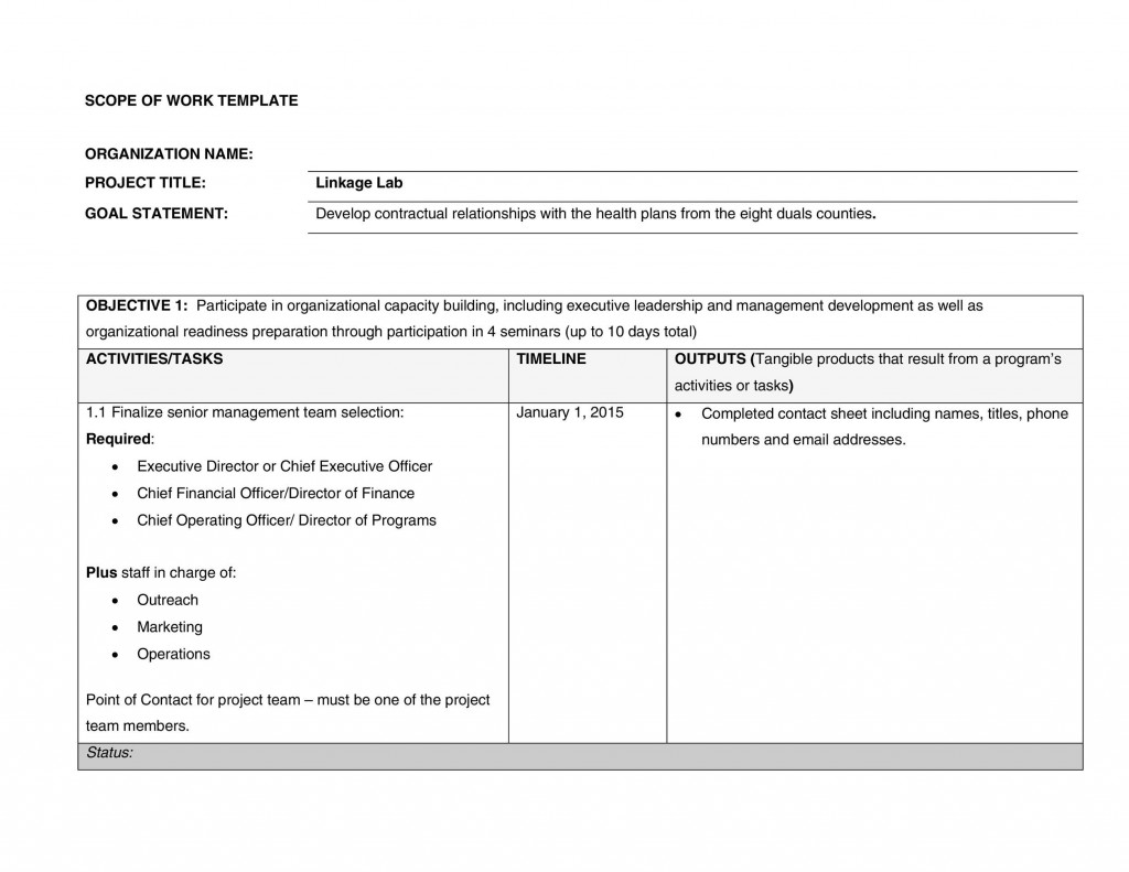 006 Shocking Simple Scope Of Work Template Highest Clarity  Example Sample ExcelLarge