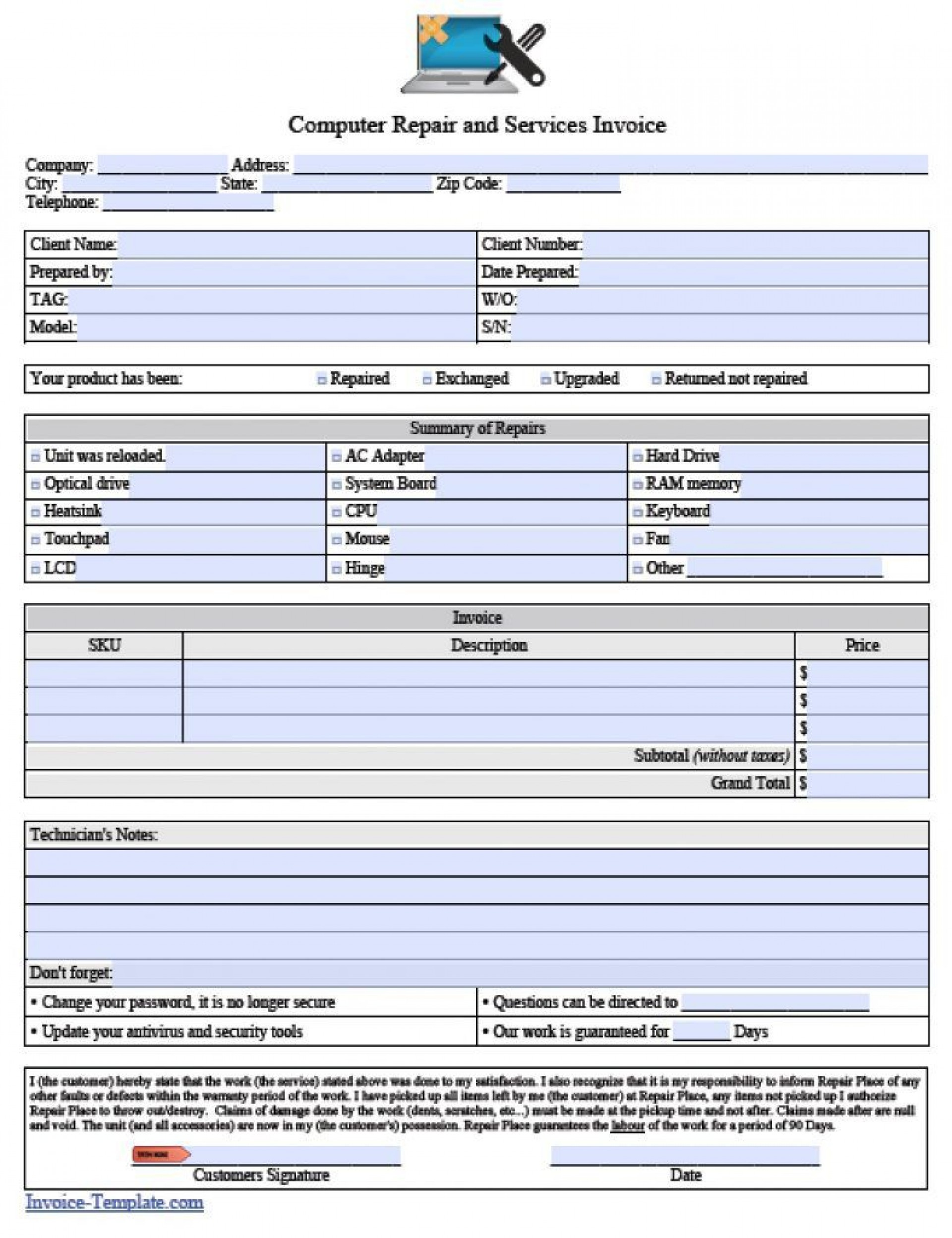 006 Simple Auto Repair Invoice Template Pdf High Resolution  Free Form Receipt1920