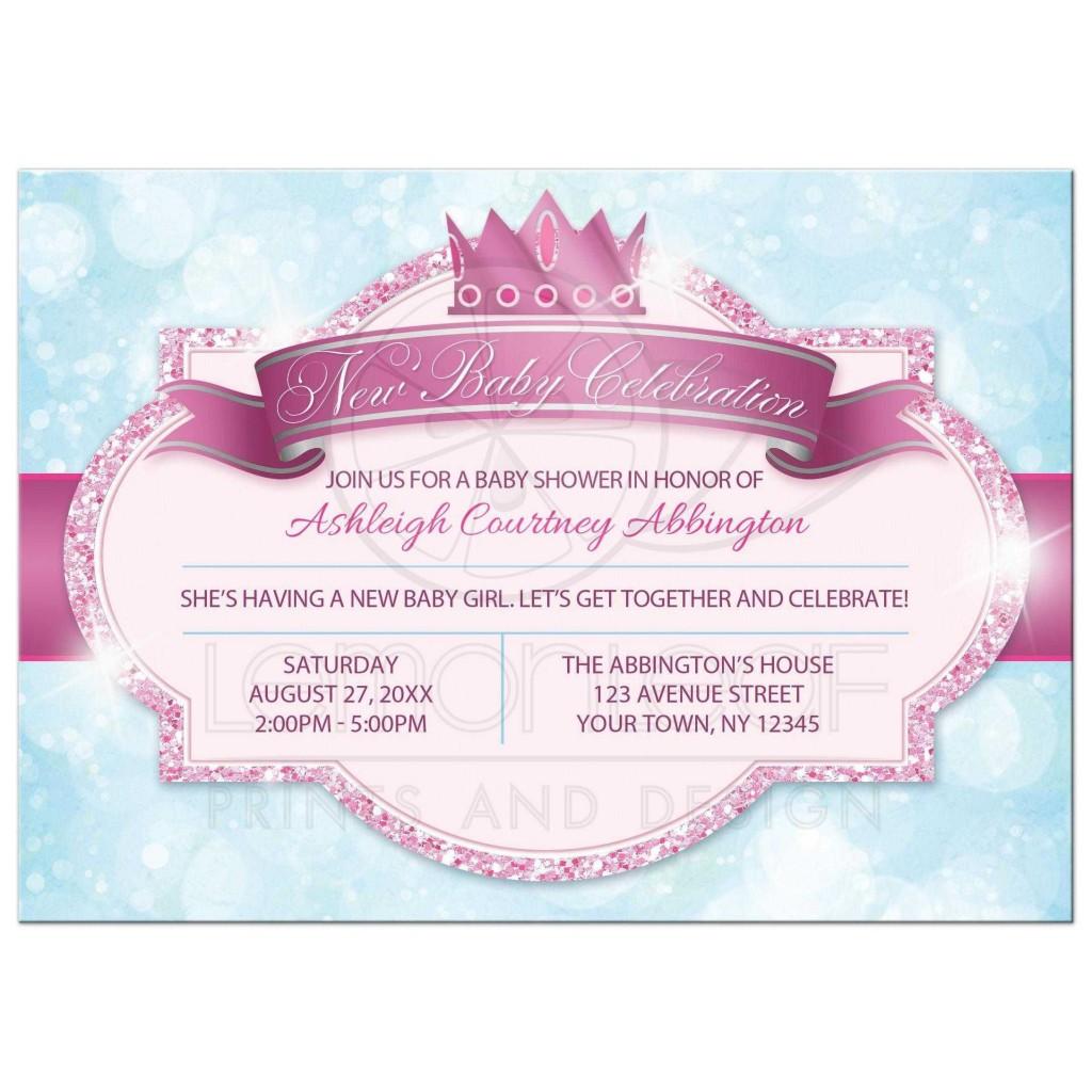 006 Simple Baby Shower Invitation Girl Princes Sample  Princess ThemeLarge