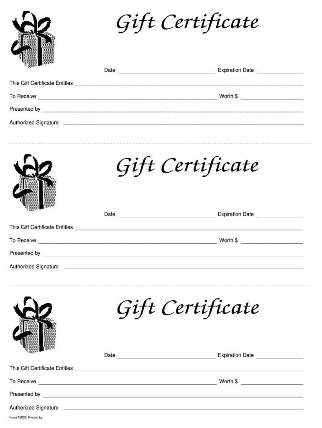 006 Simple Blank Gift Certificate Template Sample  Free Printable DownloadableLarge