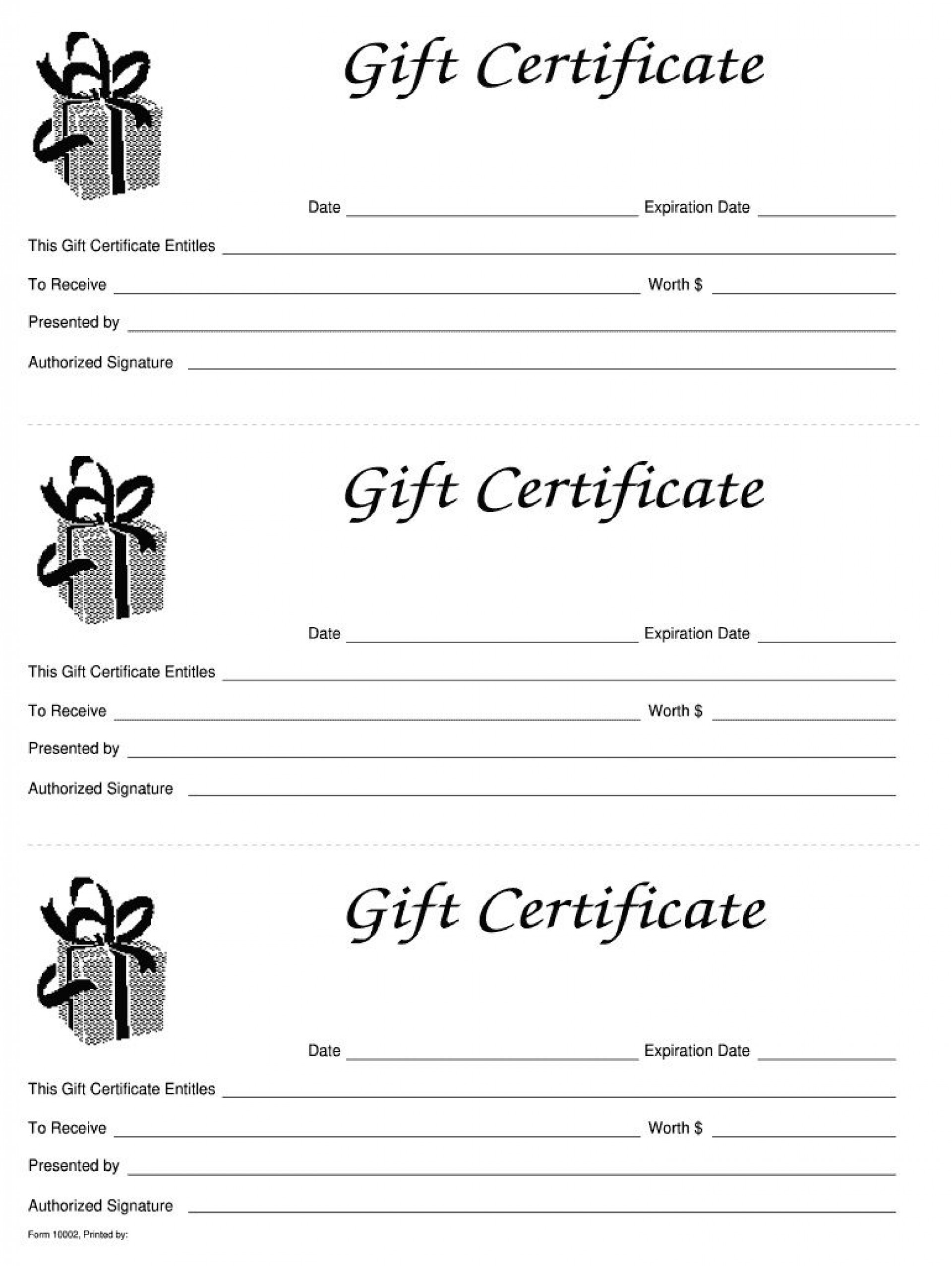 006 Simple Blank Gift Certificate Template Sample  Free Printable Downloadable1920