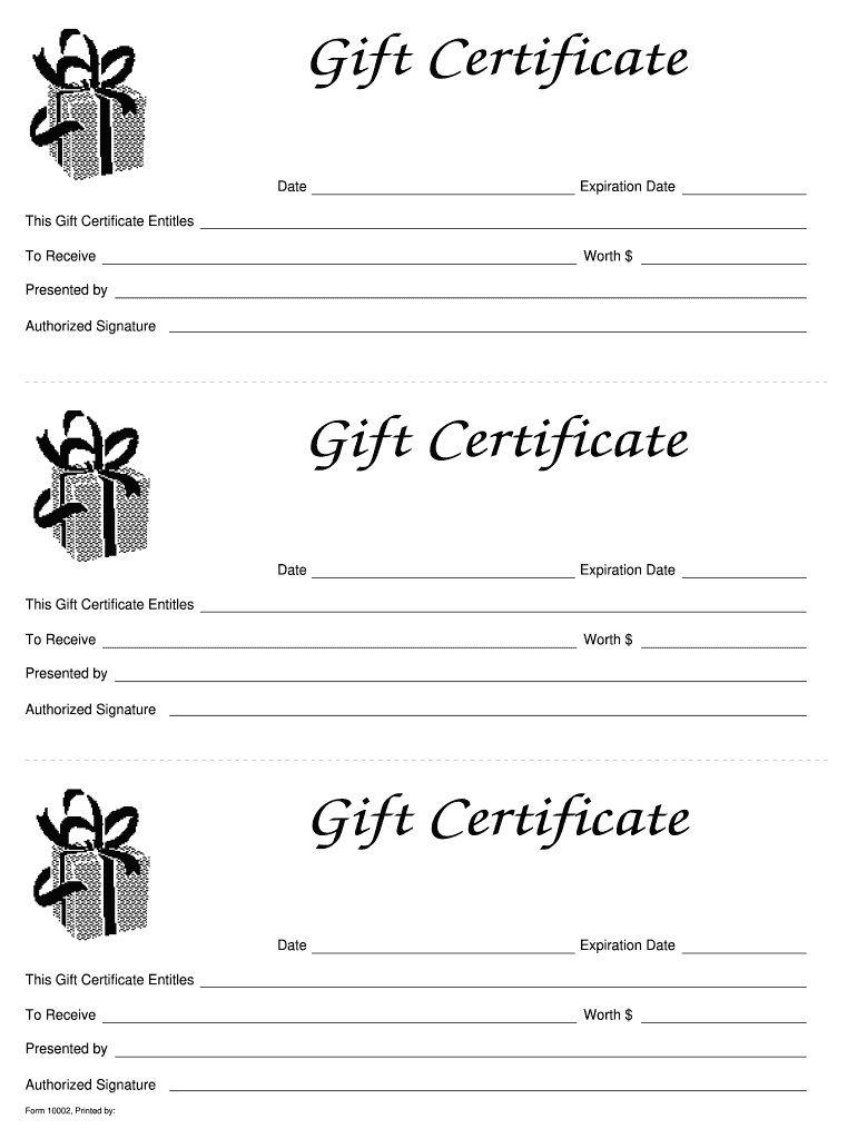 006 Simple Blank Gift Certificate Template Sample  Free Printable DownloadableFull