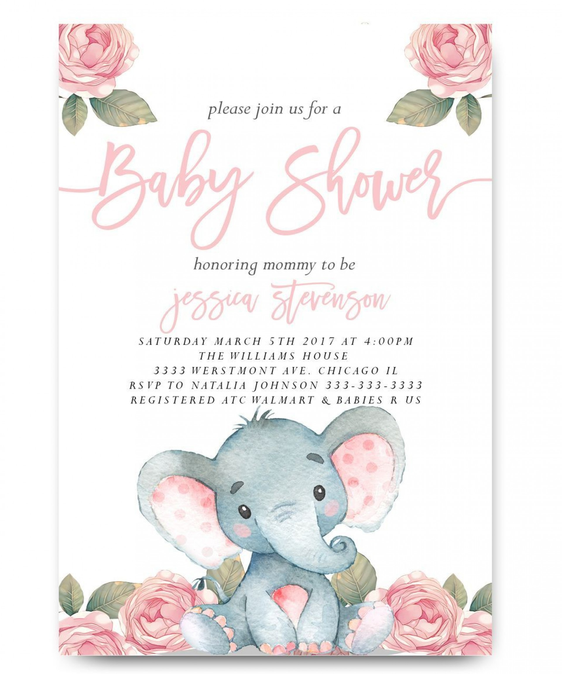 006 Simple Elephant Baby Shower Invitation Girl Pink Idea 1920