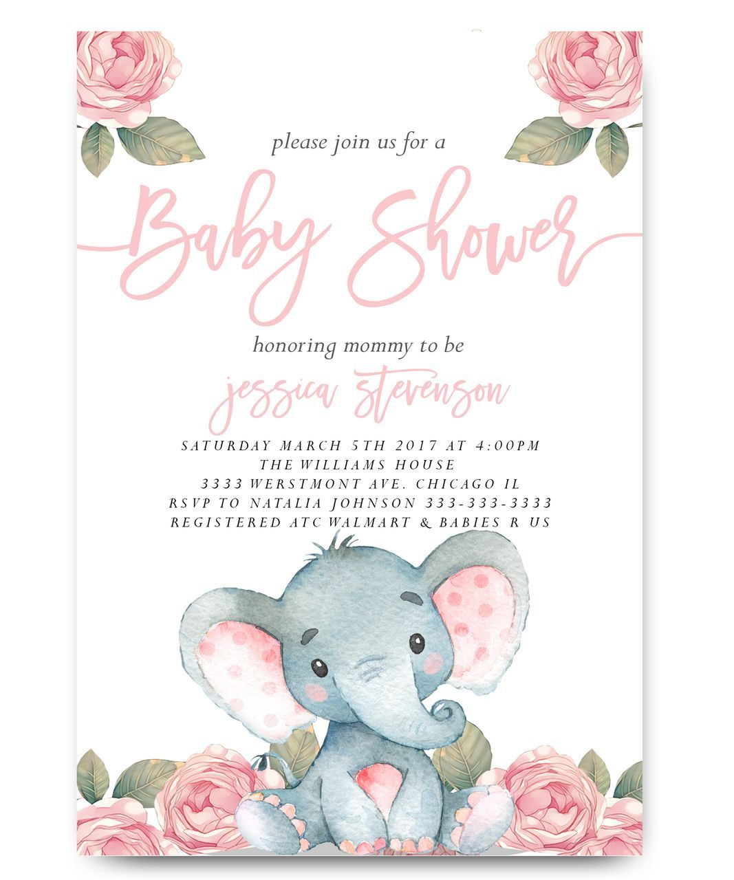 006 Simple Elephant Baby Shower Invitation Girl Pink Idea Full