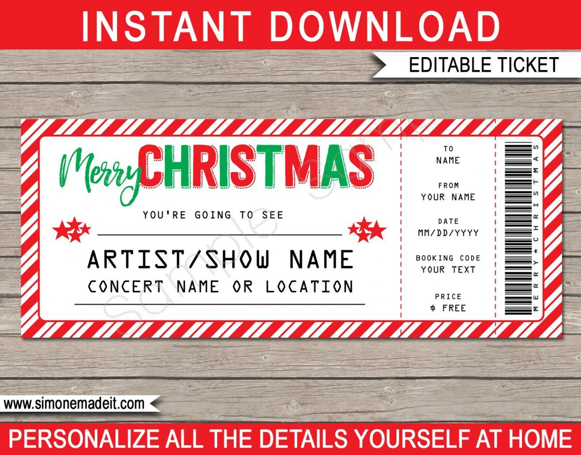 006 Simple Free Editable Concert Ticket Template Image  Psd WordFull