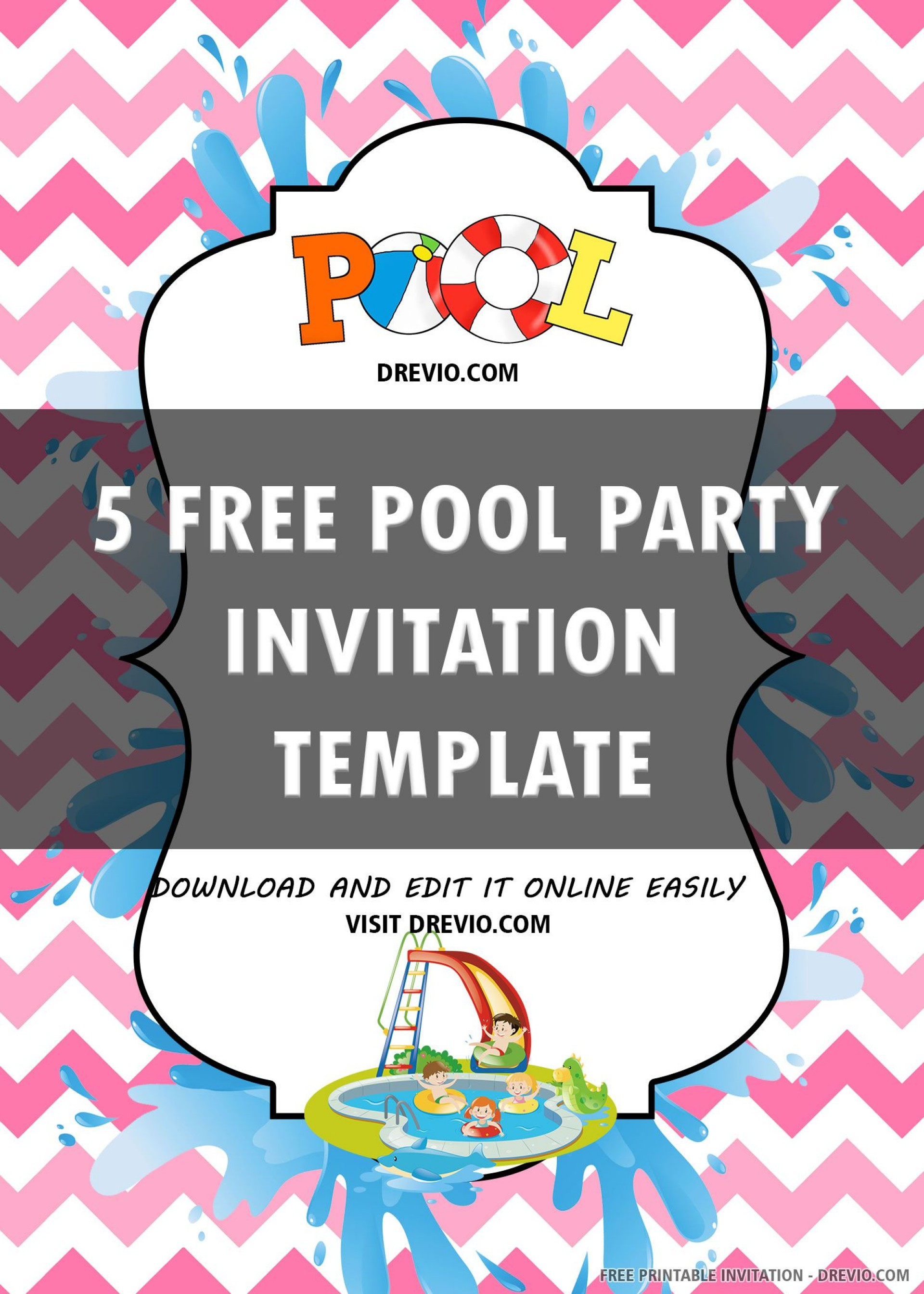 006 Simple Free Pool Party Invitation Template Printable Highest Quality  Card Summer1920