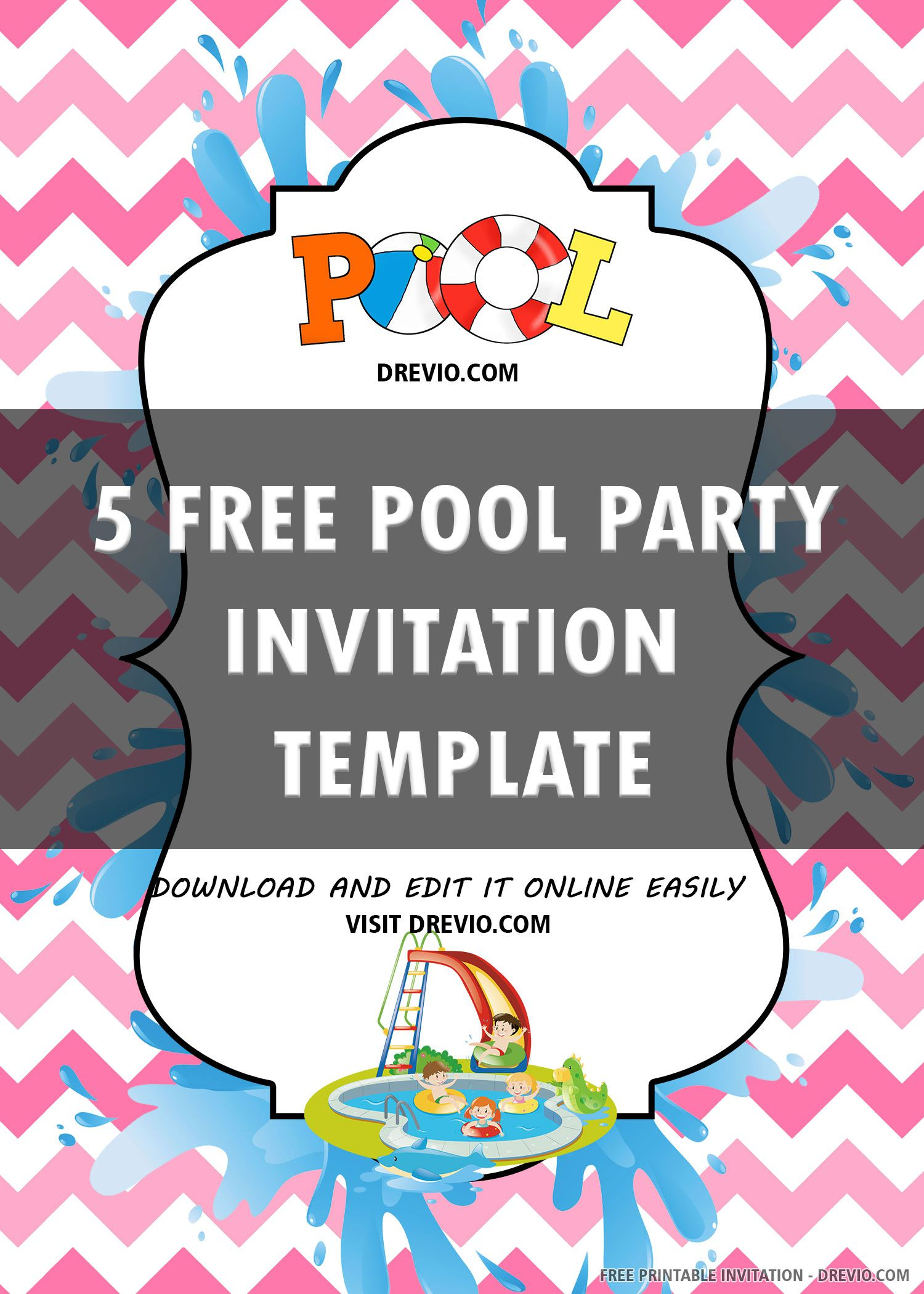 006 Simple Free Pool Party Invitation Template Printable Highest Quality  Card SummerFull