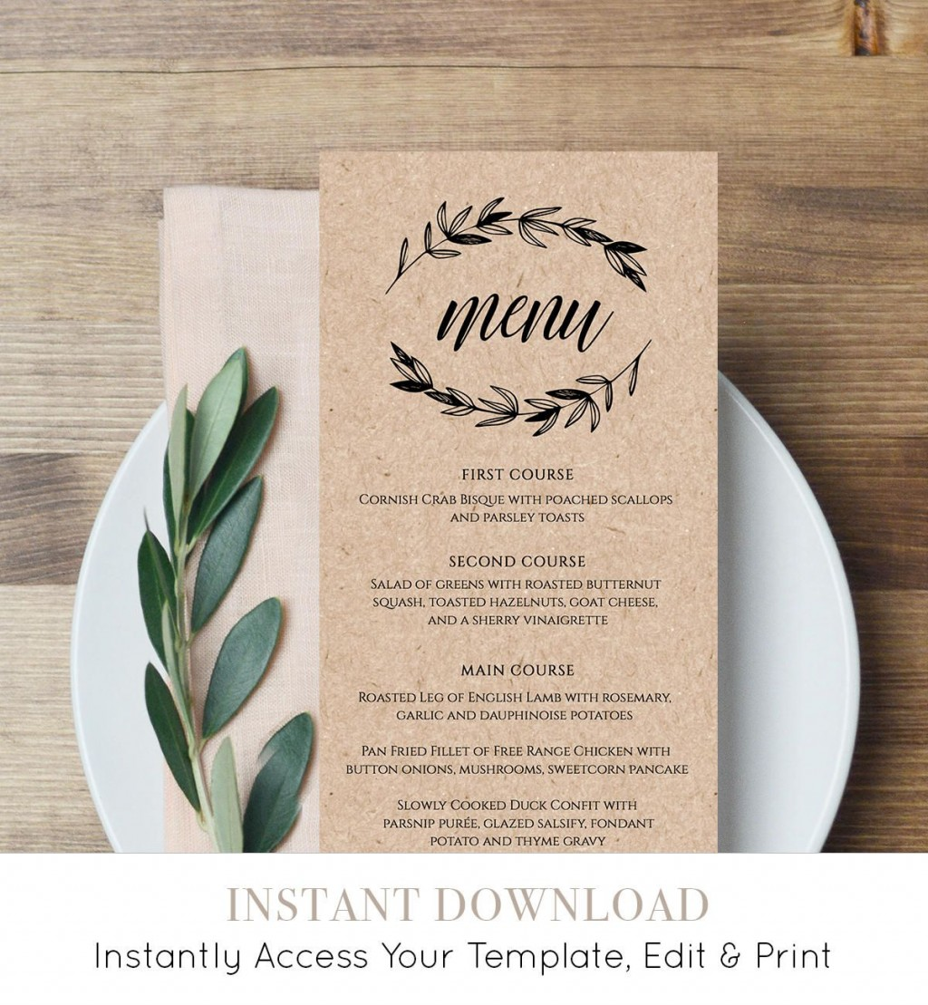 006 Simple Free Printable Wedding Menu Card Template High Resolution Large