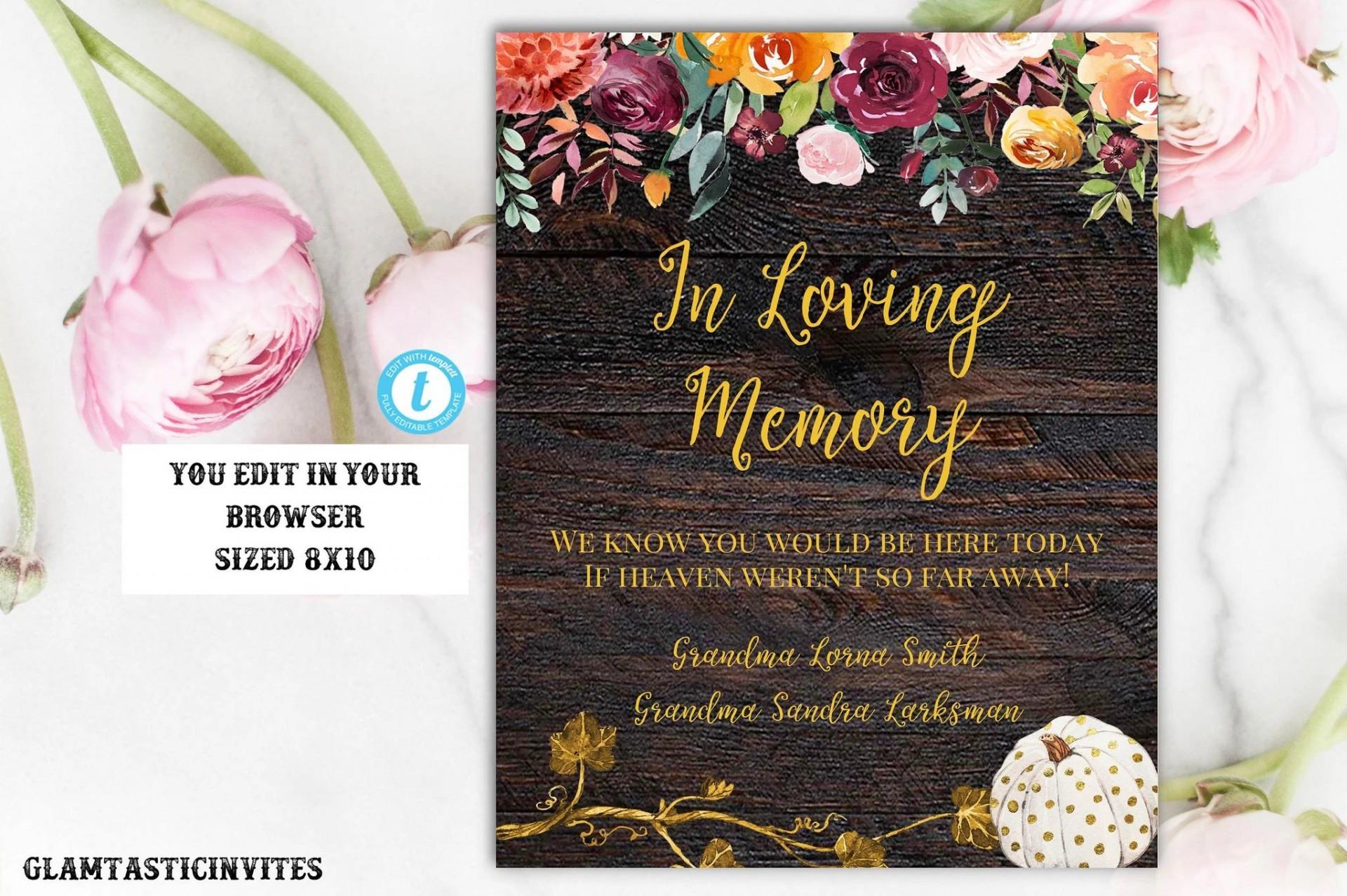 006 Simple In Loving Memory Template Image  Free Download Card Bookmark1920