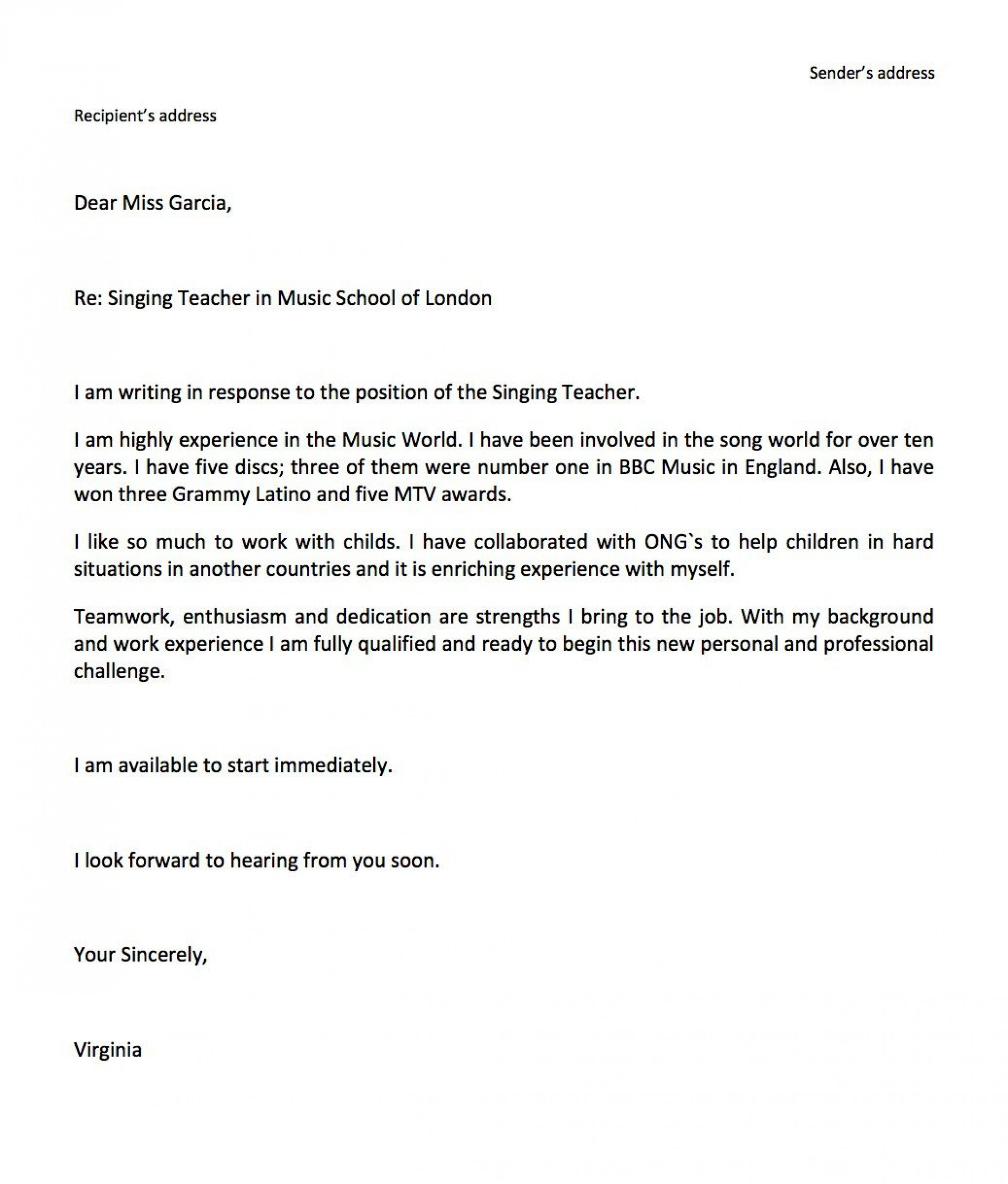 006 Simple Job Application Email Template Example  Formal For Opportunitie Subject1920