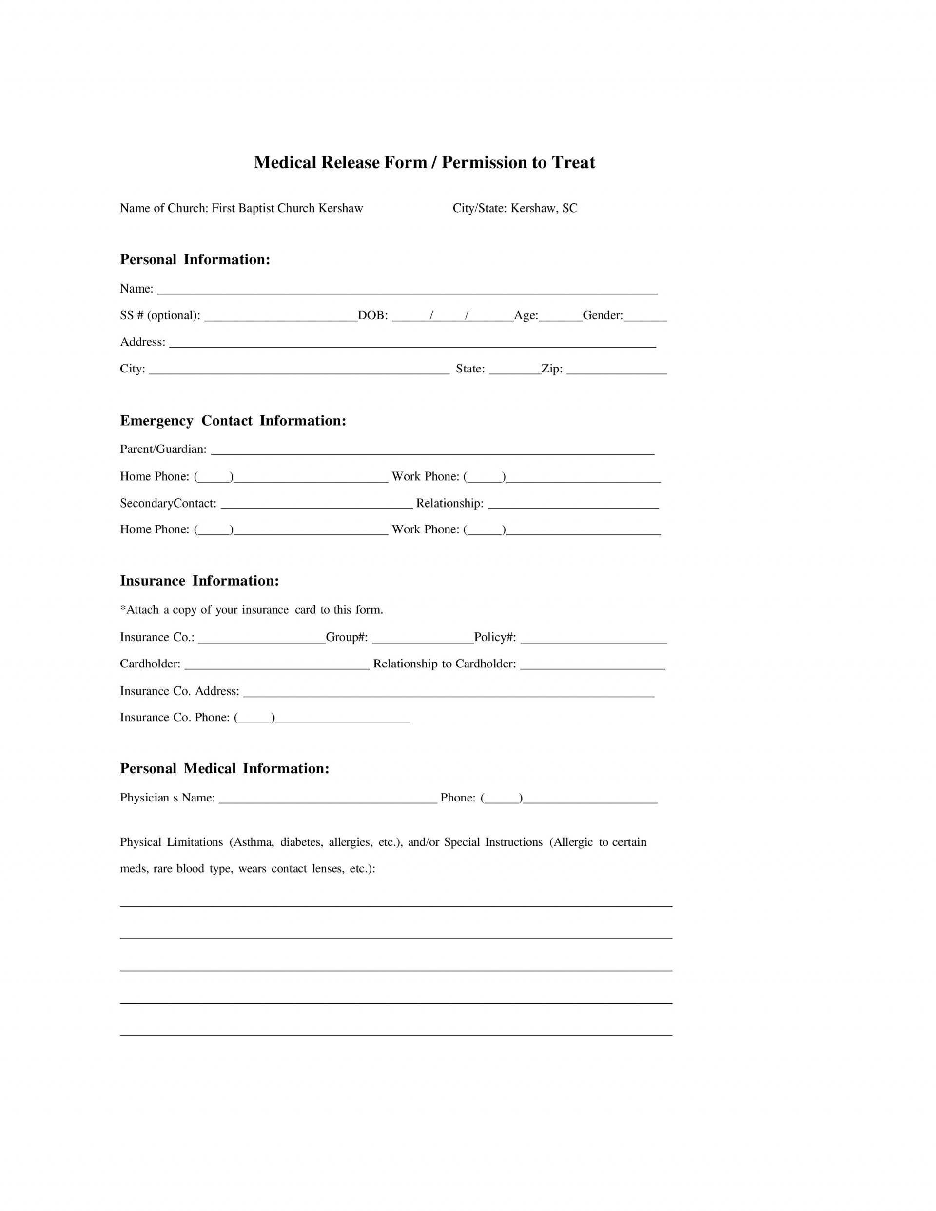 006 Simple Medical Release Form Template Example  Free Consent Uk For Minor1920