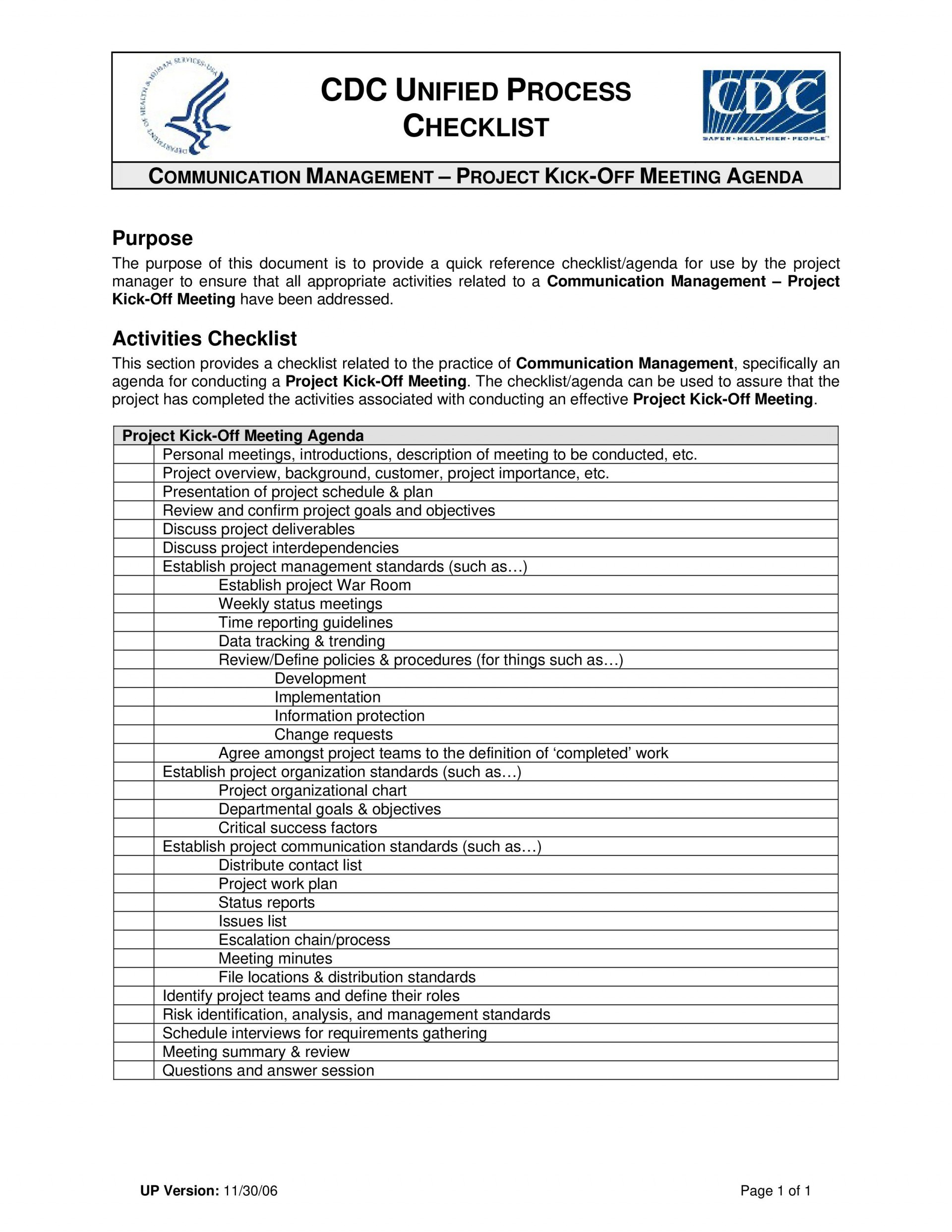 006 Simple Project Kickoff Meeting Template Example  Management Agenda Construction Doc Email1920
