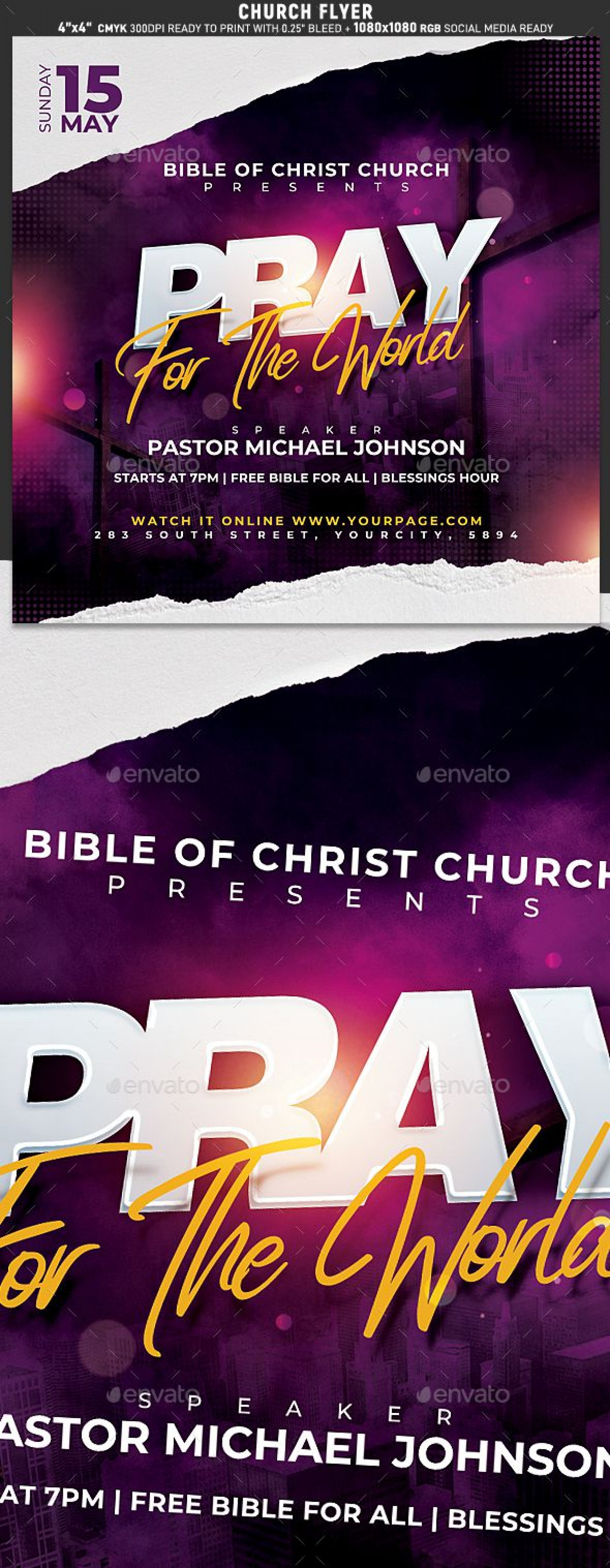 006 Singular Church Flyer Template Free High Resolution  Easter Anniversary Conference Psd1920