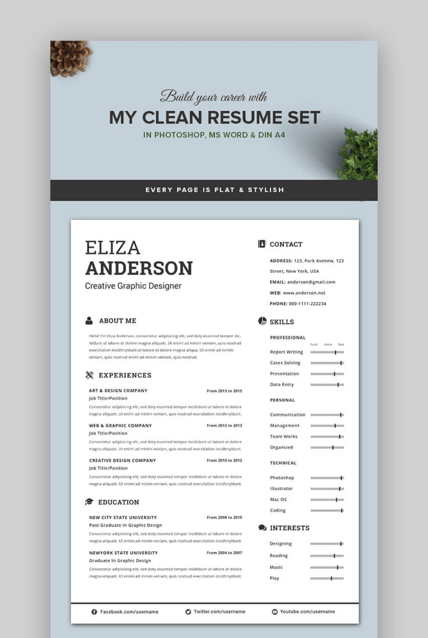 006 Singular Eye Catching Resume Template Highest Quality  Microsoft Word Free Download MostFull