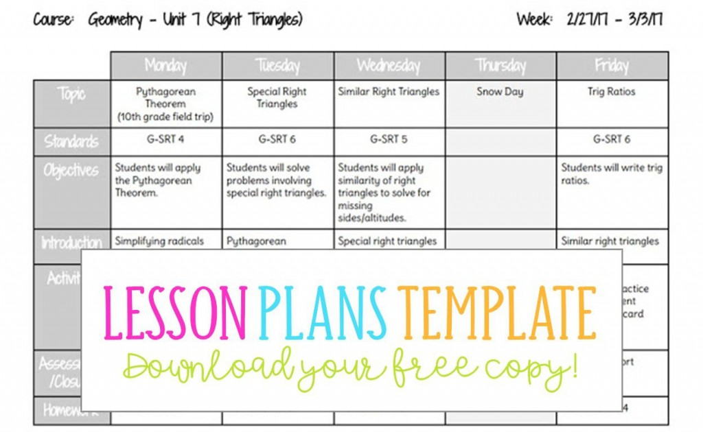 006 Singular Free Weekly Lesson Plan Template Google Doc Highest Clarity Large