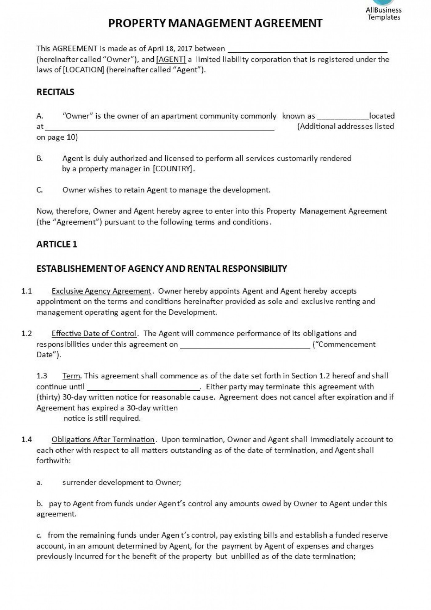 006 Singular Property Management Contract Template Free Concept  Uk1400