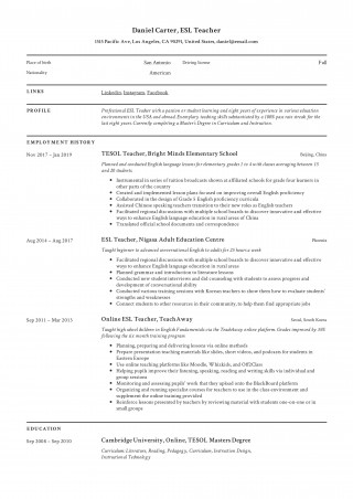 006 Singular Resume Example For Teaching Job Photo  Sample Position In College Format320