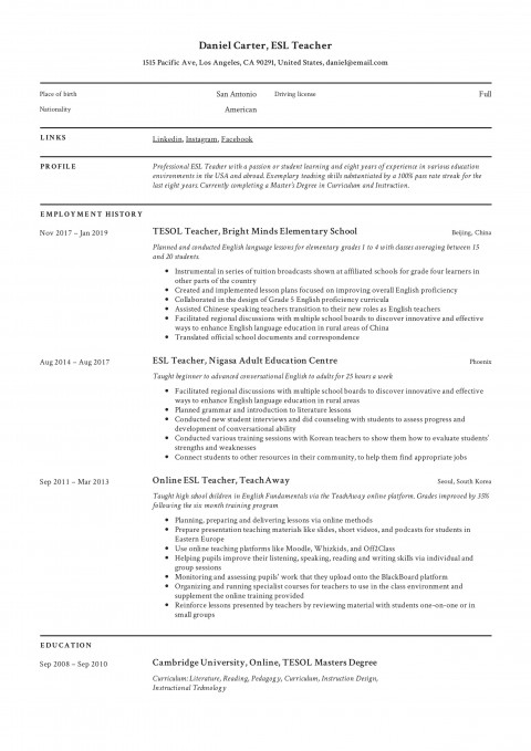 006 Singular Resume Example For Teaching Job Photo  Sample Position In College Format480