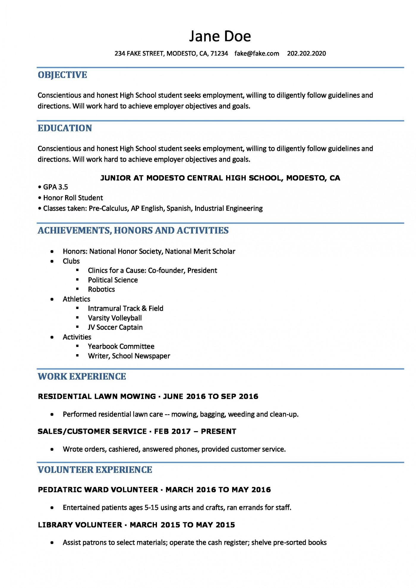 006 Singular Resume Template High School Student Idea  Sample First Job1400