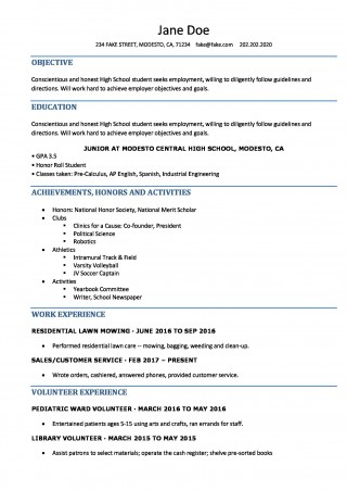 006 Singular Resume Template High School Student Idea  Sample First Job320