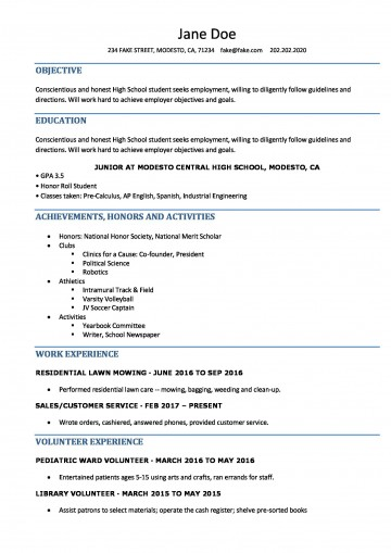006 Singular Resume Template High School Student Idea  Sample First Job360