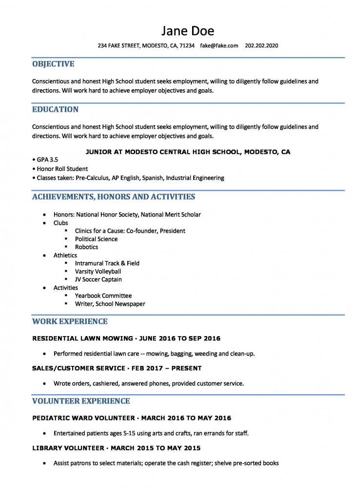 006 Singular Resume Template High School Student Idea  Sample First Job728