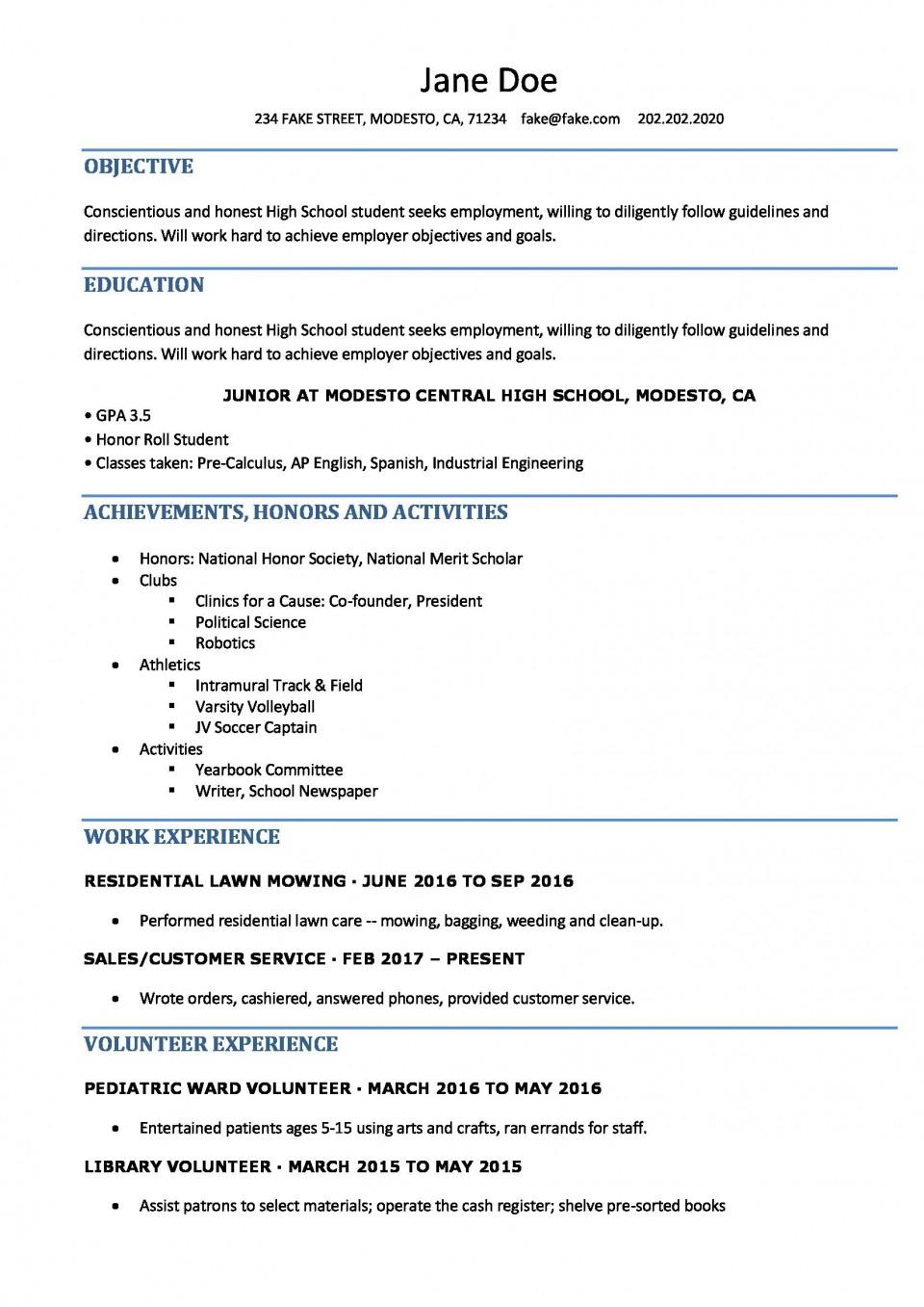 006 Singular Resume Template High School Student Idea  Sample First Job960