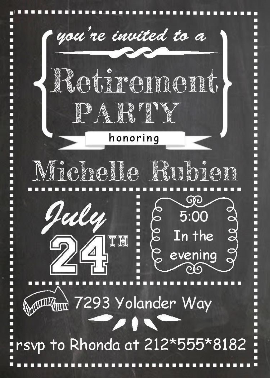 006 Singular Retirement Party Invitation Template Free Printable High Definition Large