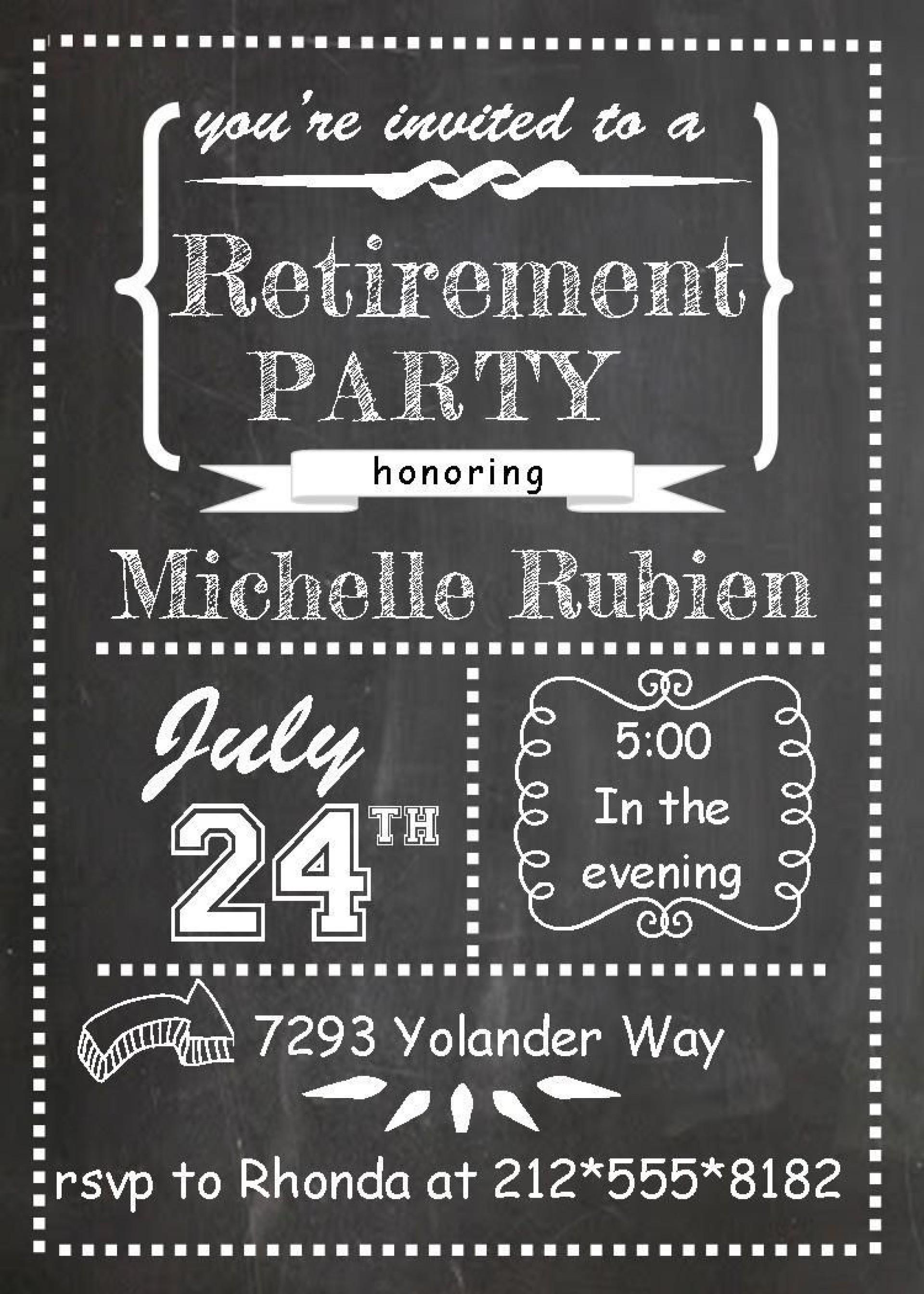 006 Singular Retirement Party Invitation Template Free Printable High Definition 1920