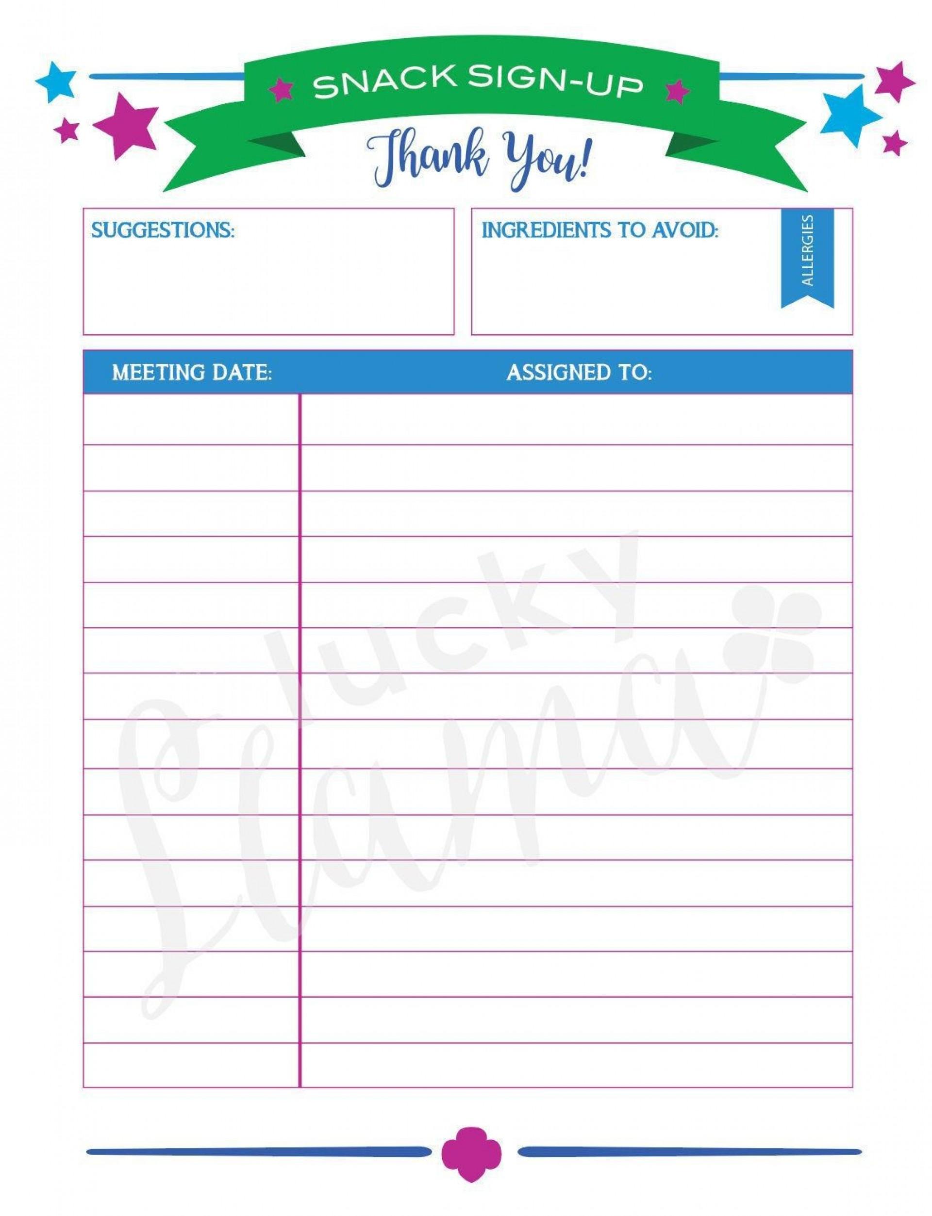 006 Singular Snack Sign Up Sheet Template Example  Team Sport Printable1920
