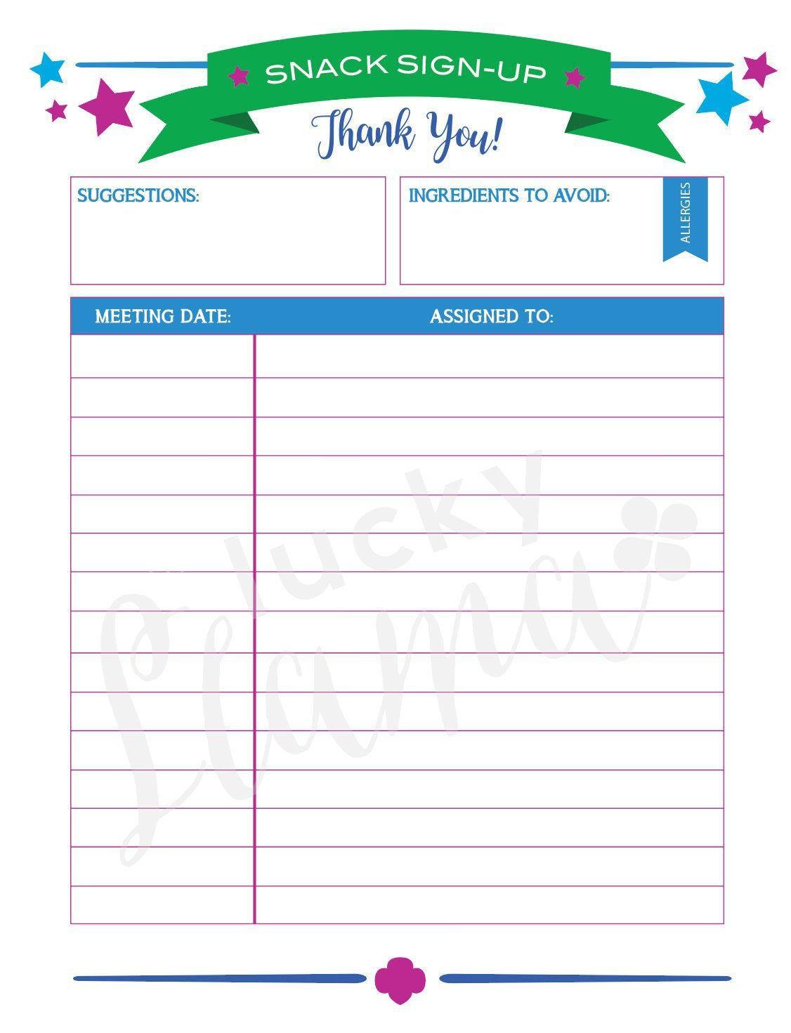 006 Singular Snack Sign Up Sheet Template Example  Team Sport PrintableFull