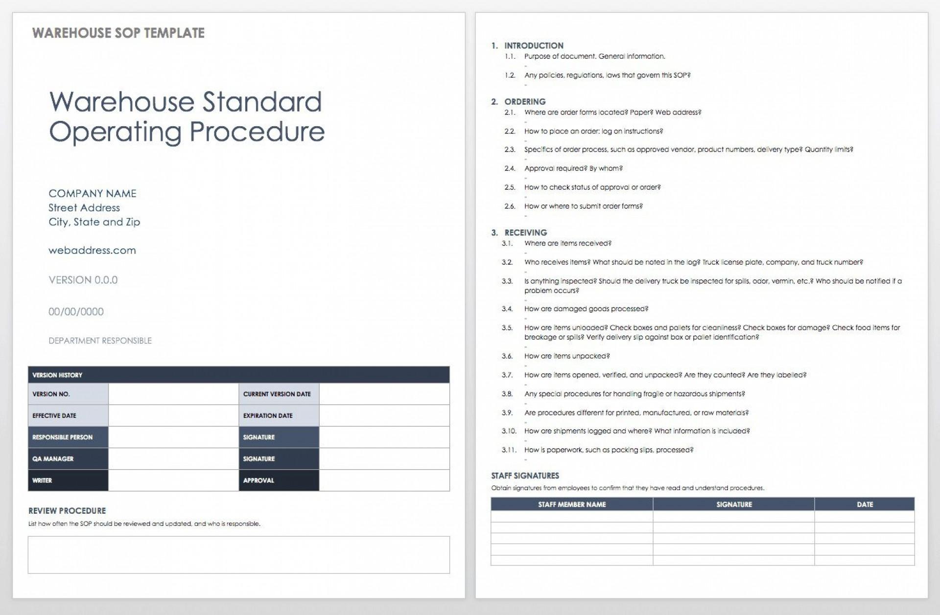 006 Singular Standard Operating Procedure Template Word Inspiration  Example Free Microsoft Download1920