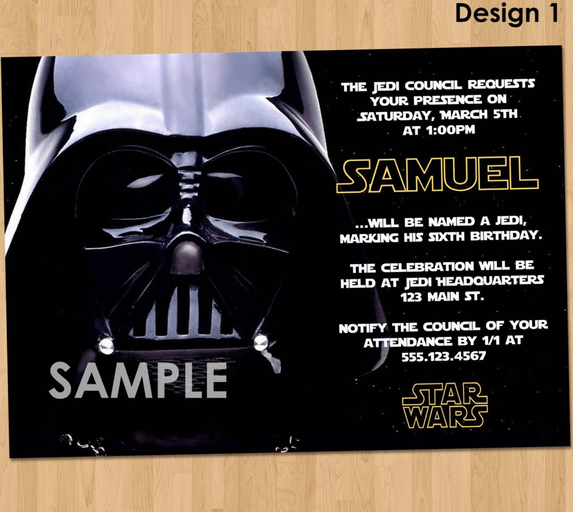 006 Singular Star War Birthday Invitation Template High Def  Free Party Printable1920