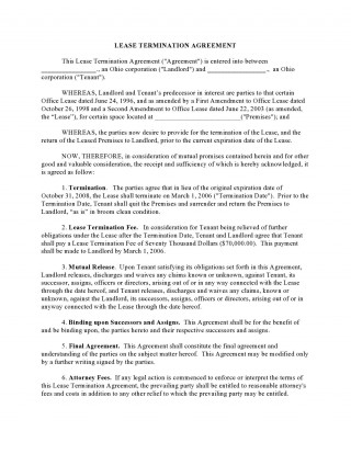 006 Singular Template For Terminating A Lease Agreement Highest Quality  Rental320