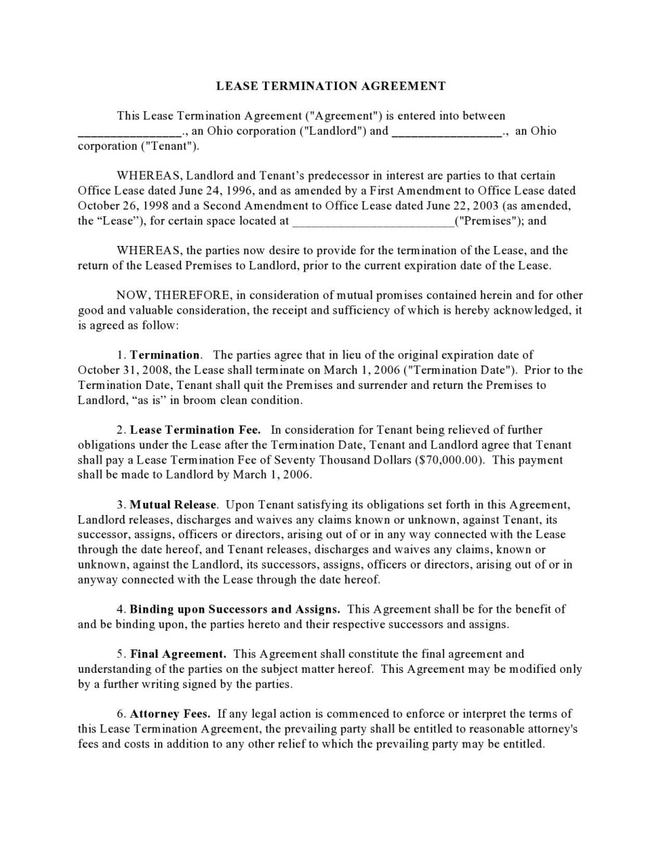 006 Singular Template For Terminating A Lease Agreement Highest Quality  Rental Sample Letter960