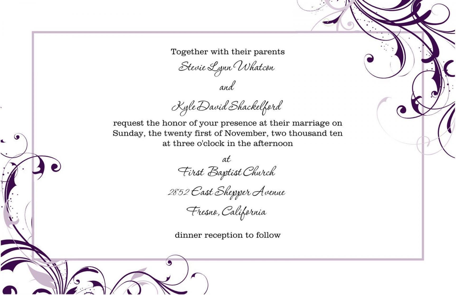 006 Singular Wedding Invitation Template Word High Resolution  Invite Wording Uk Anniversary Microsoft Free Marriage1920