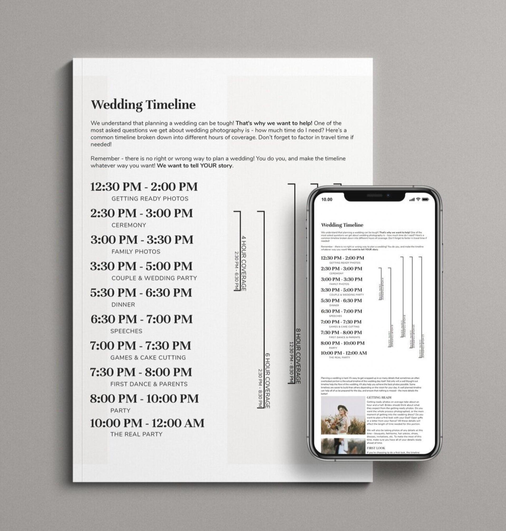 006 Singular Wedding Timeline Template Free Image  Day Excel Program1920