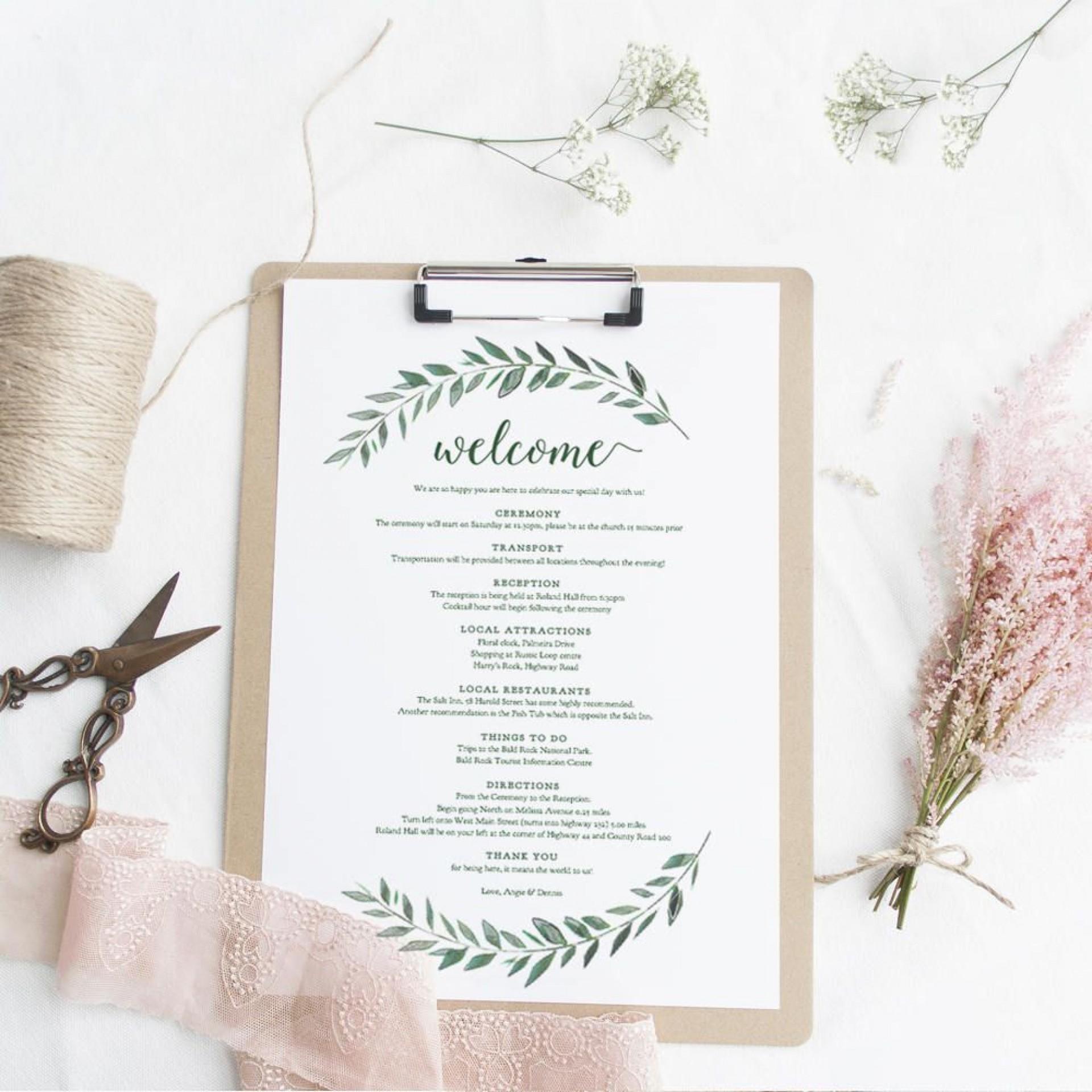 006 Singular Wedding Welcome Letter Template Free Highest Clarity  Bag1920