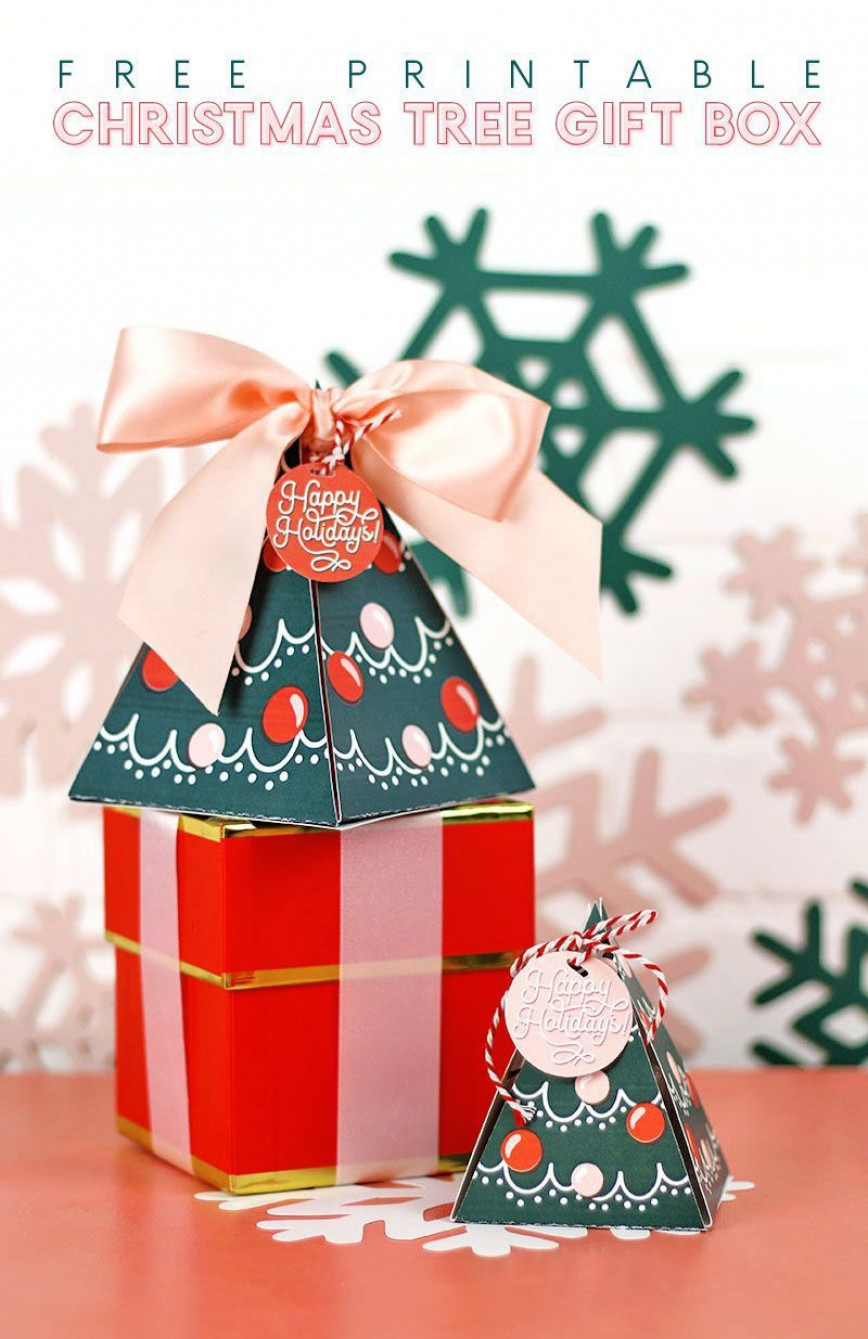 006 Staggering Christma Gift Box Template Free Printable Concept  Tree
