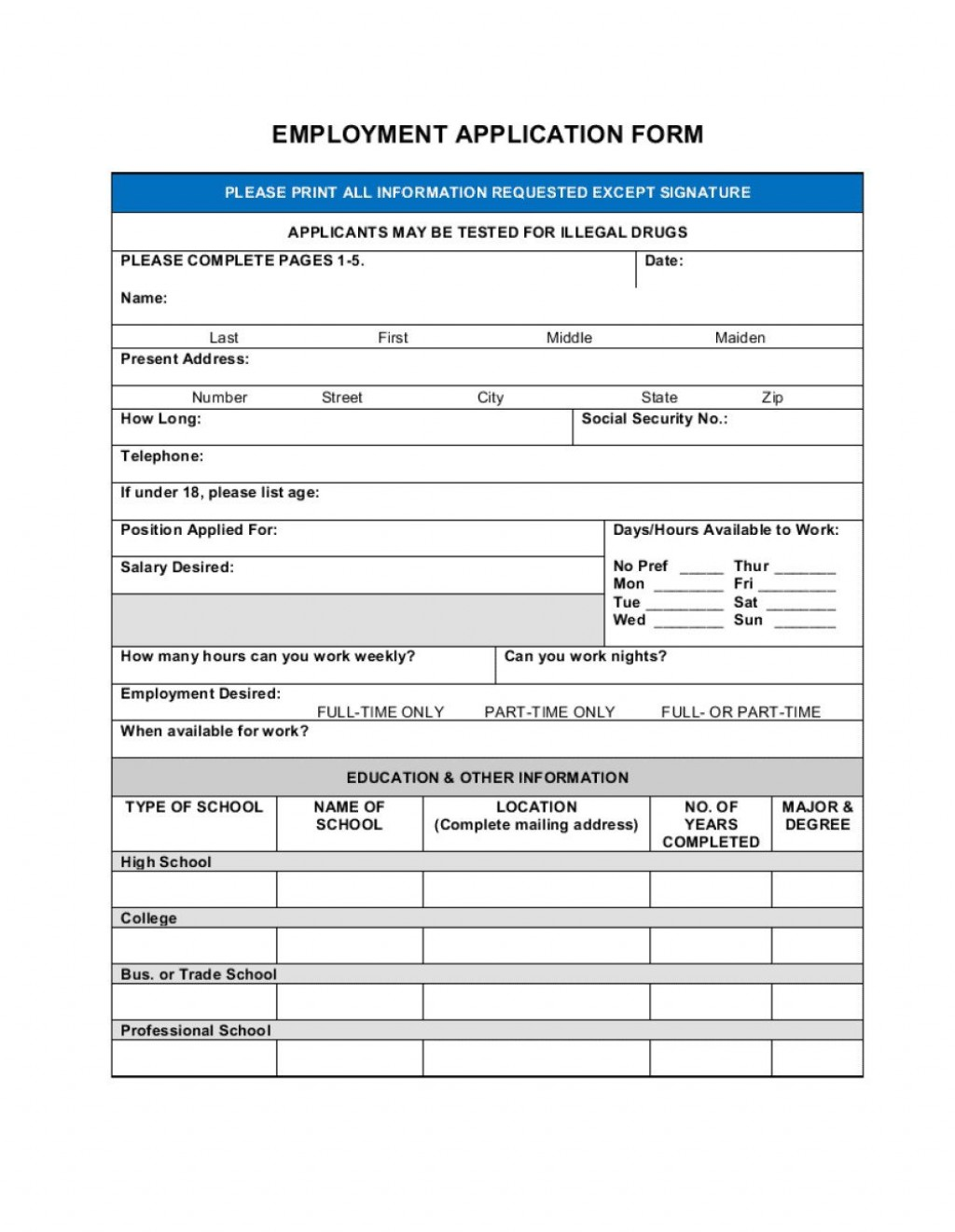006 Staggering Employment Information Form Template Sample  Employee Registration Free Download Application Malaysia WordLarge