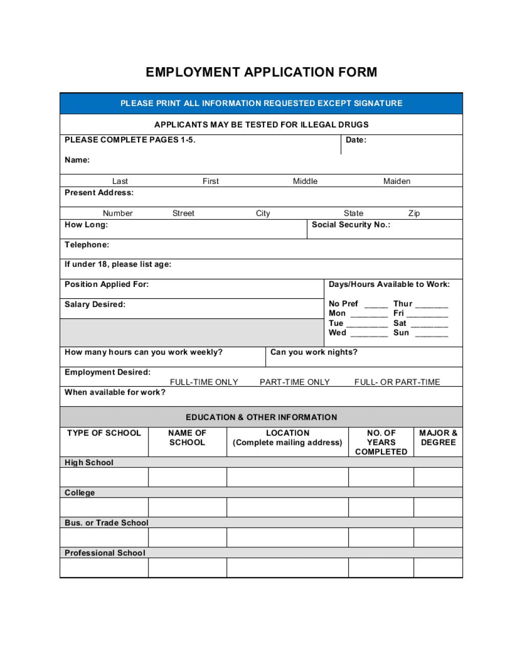 006 Staggering Employment Information Form Template Sample  Employee Registration Free Download Application Malaysia WordFull