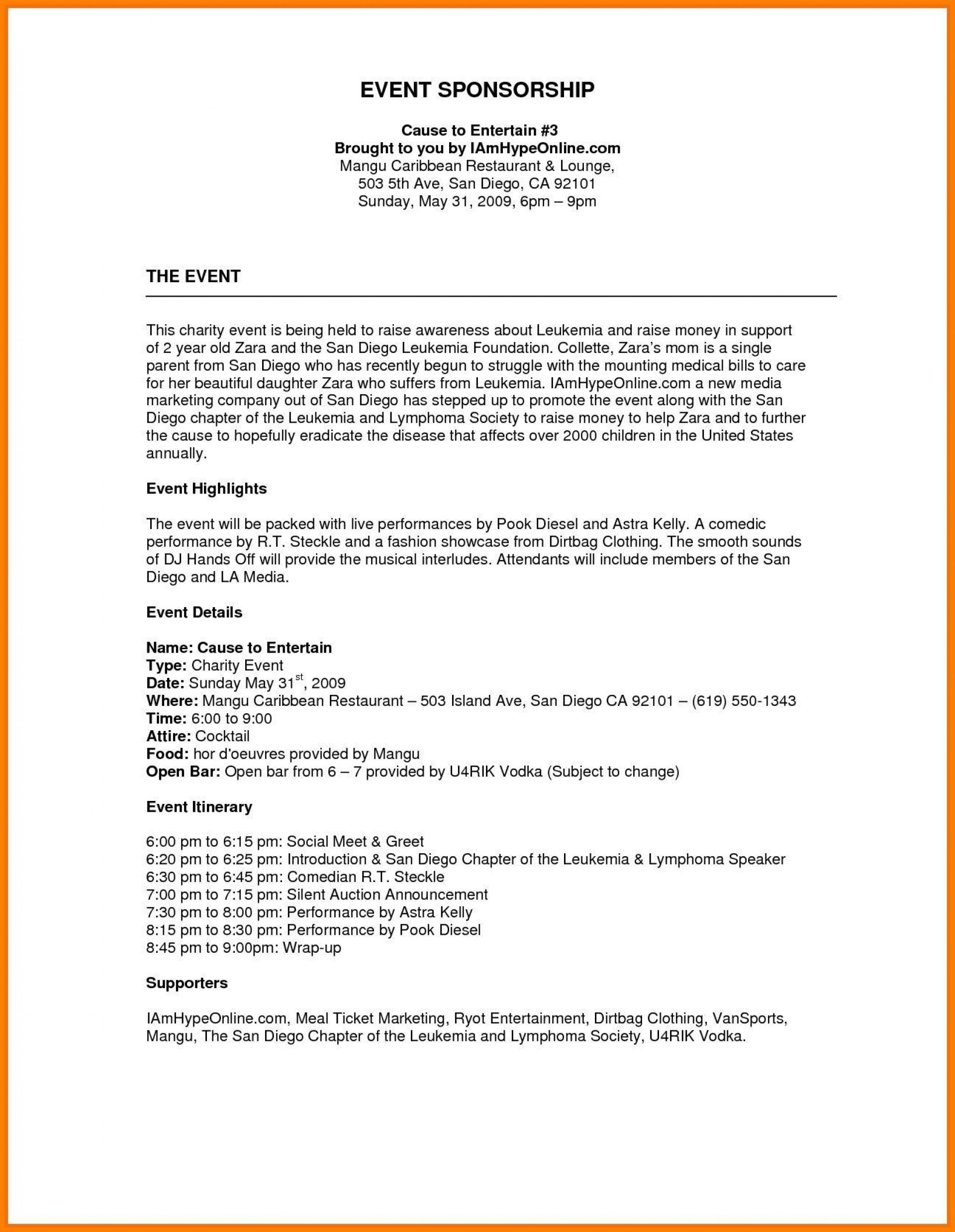 006 Staggering Event Sponsorship Proposal Sample Pdf  For Letter Music Template1920