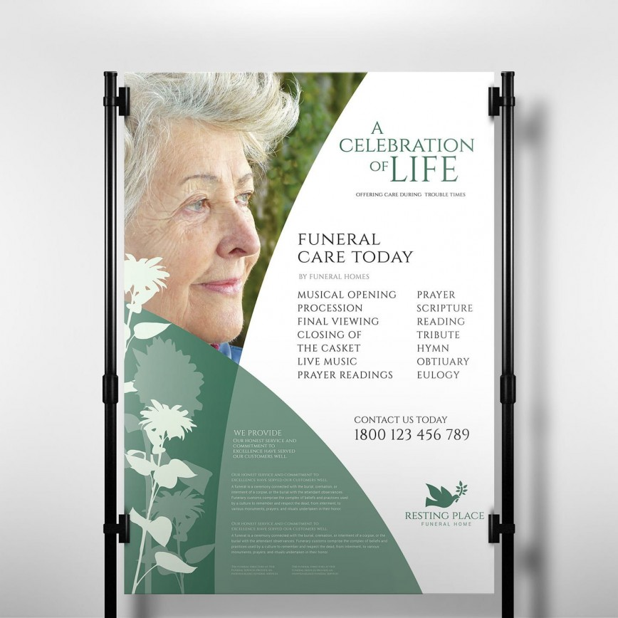 006 Staggering Free Celebration Of Life Brochure Template Design  Flyer868