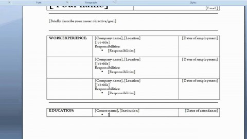 006 Staggering How To Create A Resume Template In Word 2007 Sample  Make480