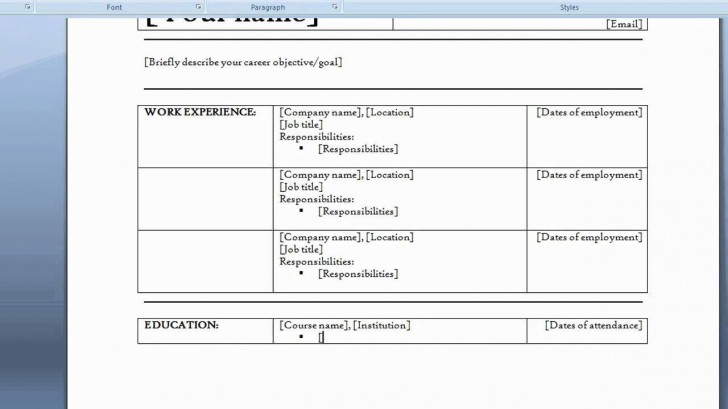 006 Staggering How To Create A Resume Template In Word 2007 Sample  Make728